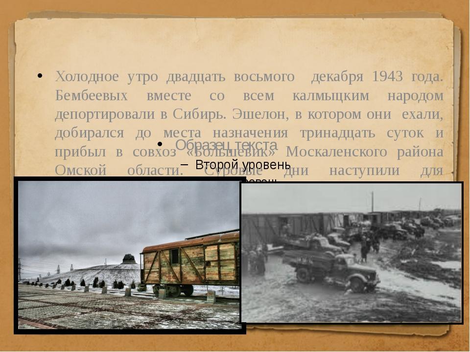Холодное утро двадцать восьмого декабря 1943 года. Бембеевых вместе со всем...