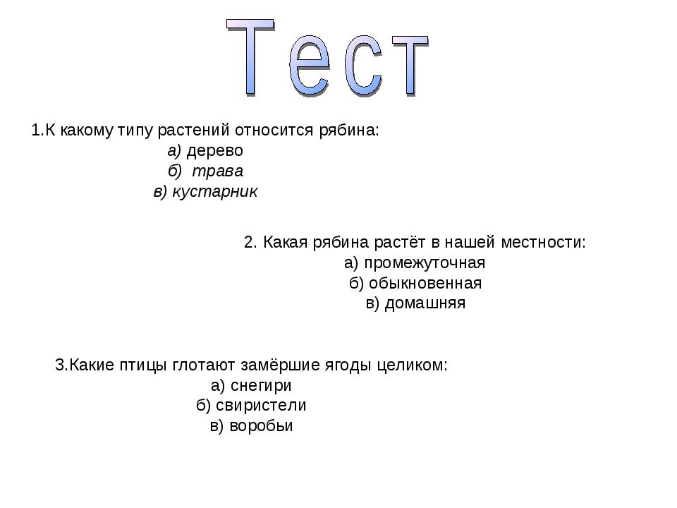1.К какому типу растений относится рябина: а) дерево б) трава в) кустарник 2....
