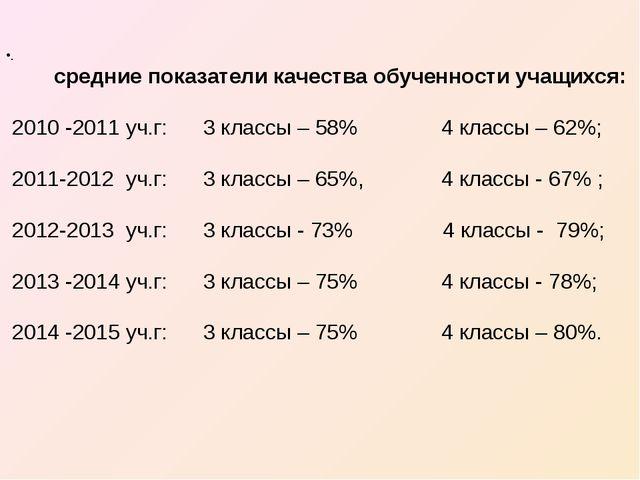 . средние показатели качества обученности учащихся: 2010 -2011 уч.г: 3 классы...