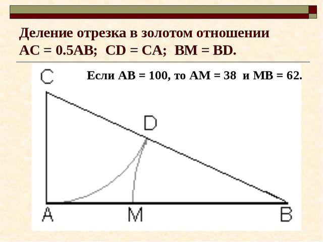 Деление отрезка в золотом отношении AC = 0.5AB; CD = CА; BM = BD. Если АВ = 1...