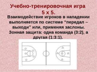 Учебно-тренировочная игра 5 х 5. Взаимодействие игроков в нападении выполняет