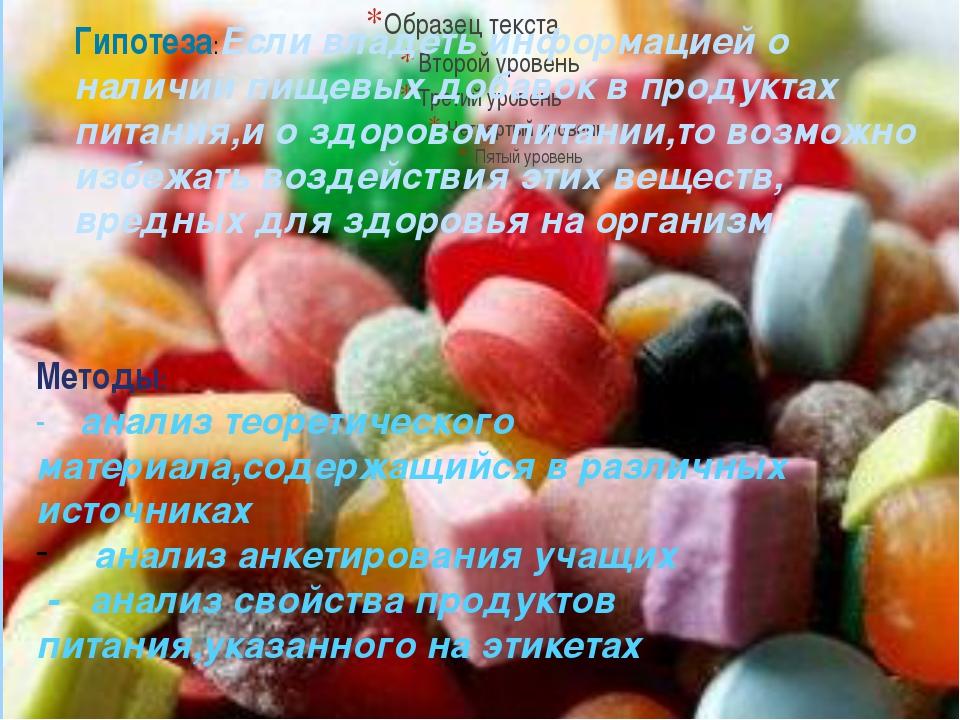 Гипотеза:Если владеть информацией о наличии пищевых добавок в продуктах пита...