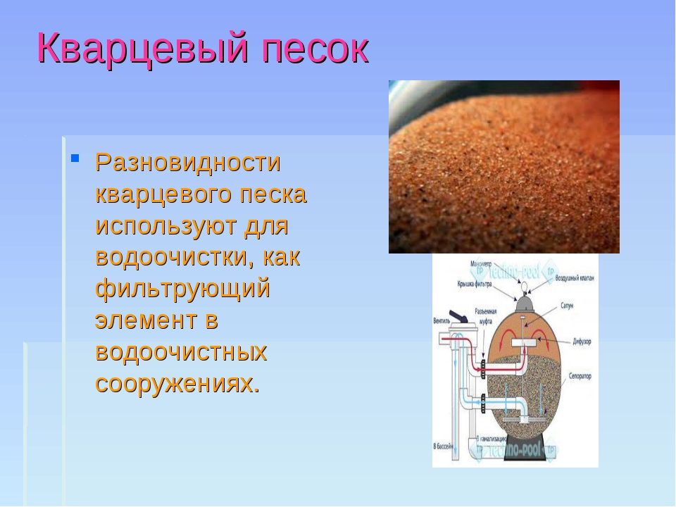Кварцевый песок Разновидности кварцевого песка используют для водоочистки, ка...