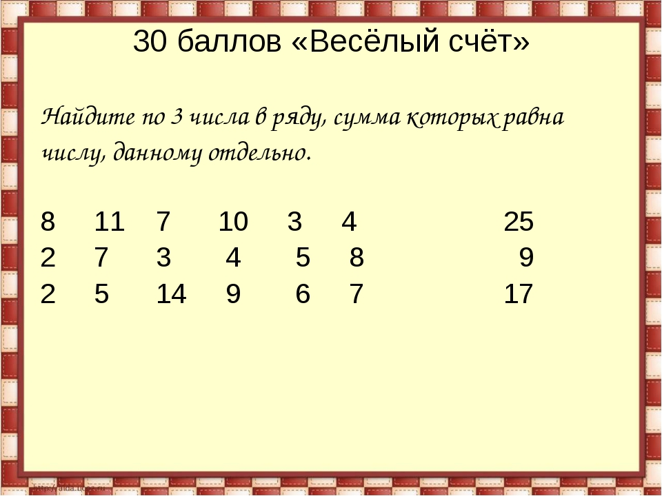 30 баллов «Весёлый счёт» Найдите по 3 числа в ряду, сумма которых равна числу...