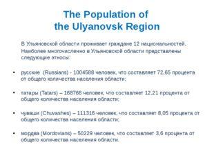 The Population of the Ulyanovsk Region В Ульяновской области проживает гражда