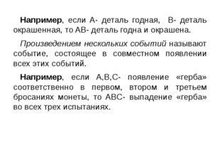 Например, если A- деталь годная, B- деталь окрашенная, то AB- деталь годна и