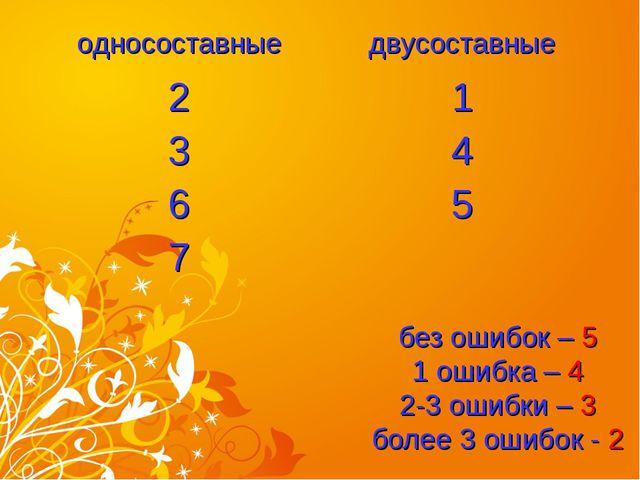 без ошибок – 5 1 ошибка – 4 2-3 ошибки – 3 более 3 ошибок - 2 односоставныед...