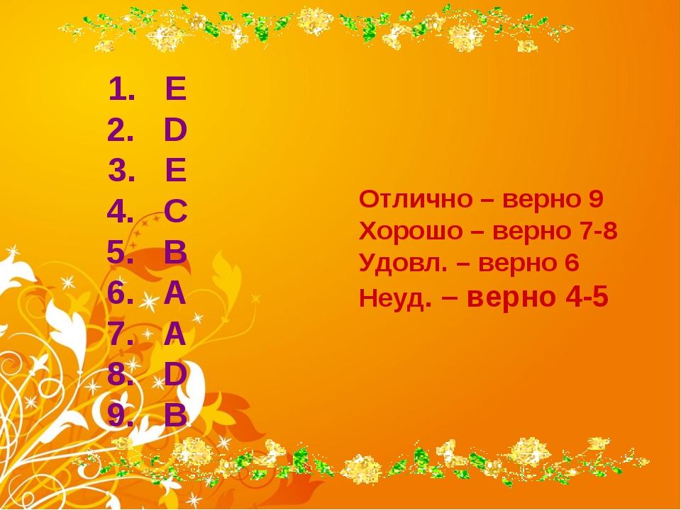 E D E C B A A D B Отлично – верно 9 Хорошо – верно 7-8 Удовл. – верно 6 Неуд...