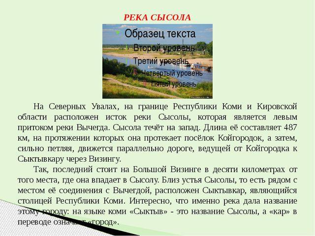 РЕКА СЫСОЛА На Северных Увалах, на границе Республики Коми и Кировской облас...