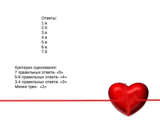 Ответы: 1.а 2.б 3.а 4.в 5.в 6.а 7.б Критерии оценивания: 7 правильных ответа-...