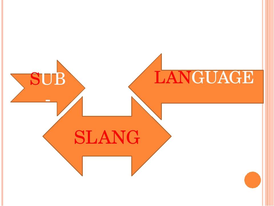 SUB- LANGUAGE SLANG