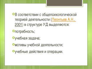 В соответствии с общепсихологической теорией деятельности (Леонтьев А.Н., 200
