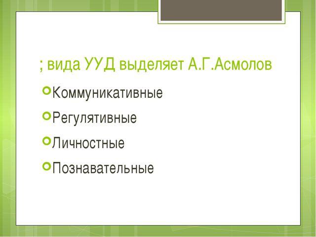 ; вида УУД выделяет А.Г.Асмолов Коммуникативные Регулятивные Личностные Позна...