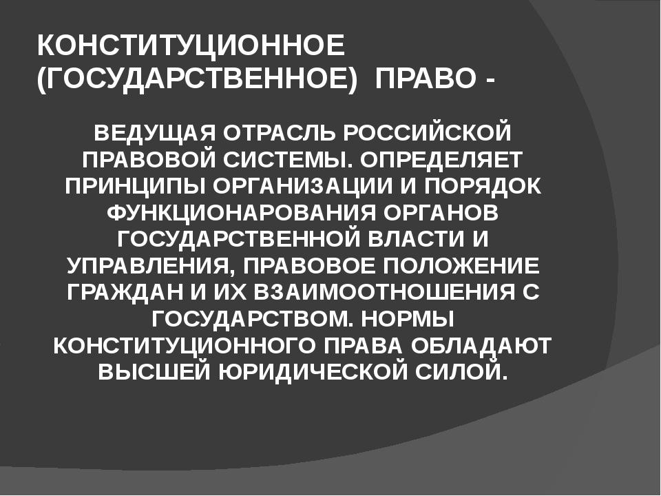 КОНСТИТУЦИОННОЕ (ГОСУДАРСТВЕННОЕ) ПРАВО - ВЕДУЩАЯ ОТРАСЛЬ РОССИЙСКОЙ ПРАВОВОЙ...