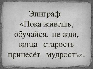 Эпиграф: «Пока живешь, обучайся, не жди, когда старость принесёт мудрость».