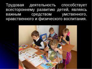 Трудовая деятельность способствует всестороннему развитию детей, являясь важ