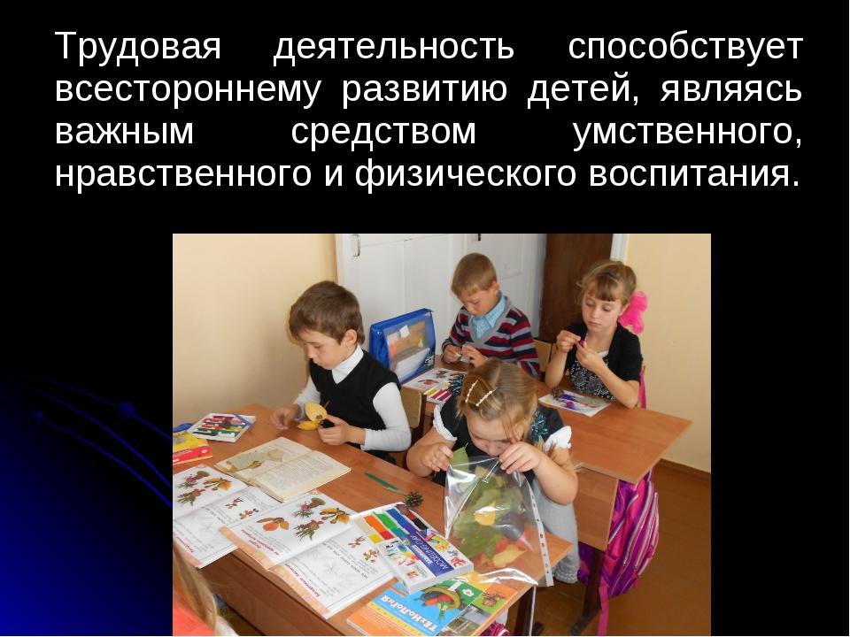 Трудовая деятельность способствует всестороннему развитию детей, являясь важ...