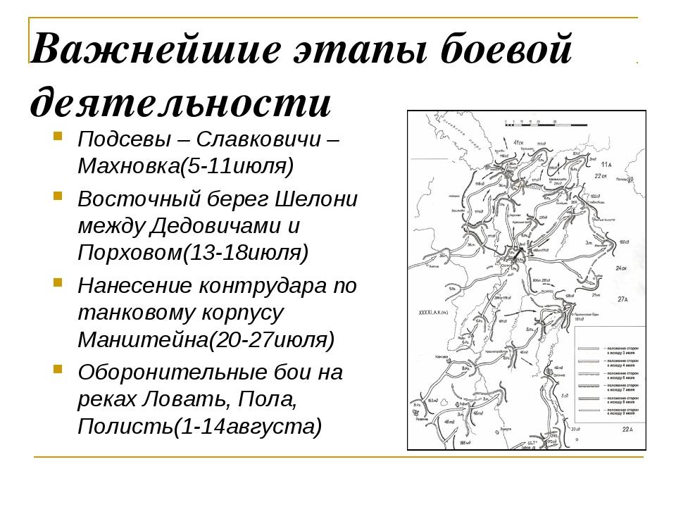 Важнейшие этапы боевой деятельности Подсевы – Славковичи – Махновка(5-11июля)...