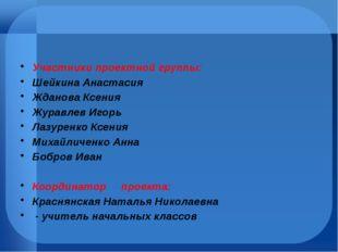 Участники проектной группы: Шейкина Анастасия Жданова Ксения Журавлев Игорь