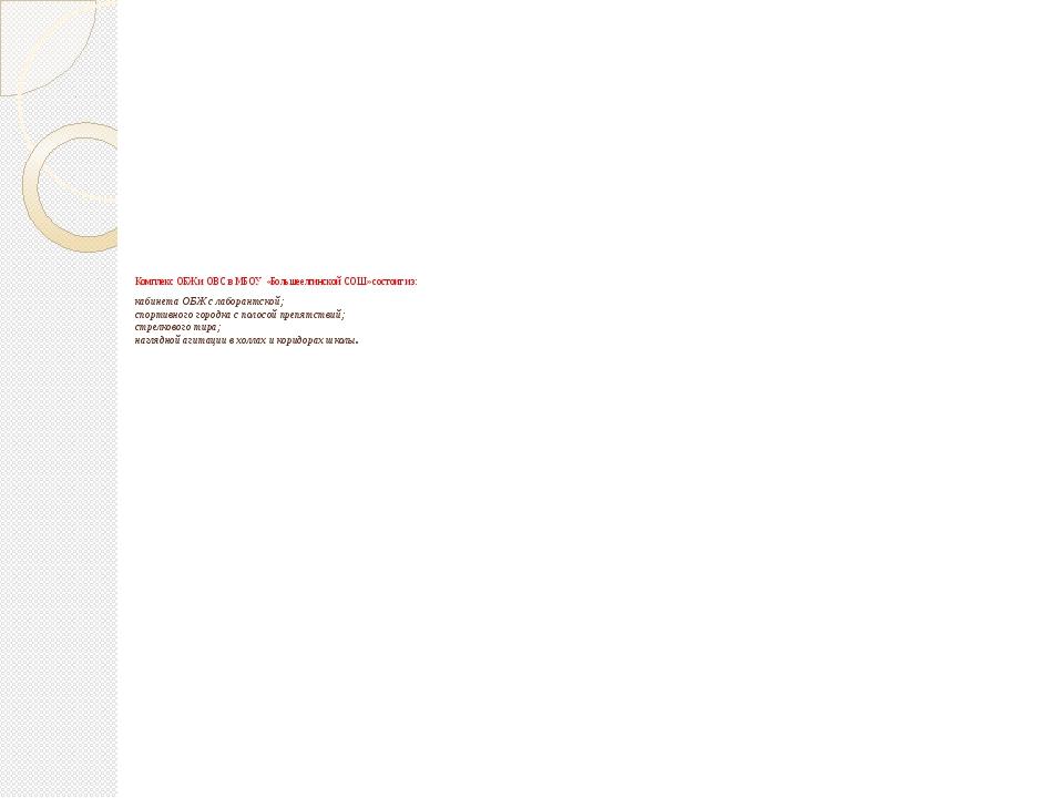 Комплекс ОБЖ и ОВС в МБОУ «Большеелгинской СОШ» состоит из: кабинета ОБЖ с л...