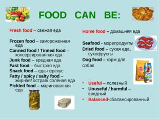 FOOD CAN BE: Fresh food – свежая еда Frozen food – замороженная еда Canned fo
