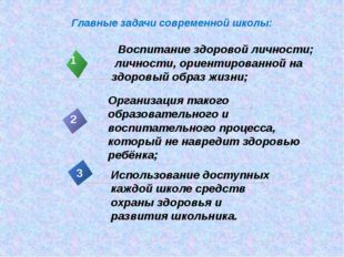 Главные задачи современной школы: Воспитание здоровой личности; личности, ори
