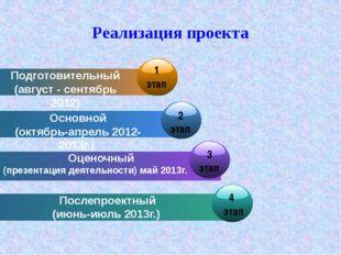 Реализация проекта Подготовительный (август - сентябрь 2012) Основной (октябр