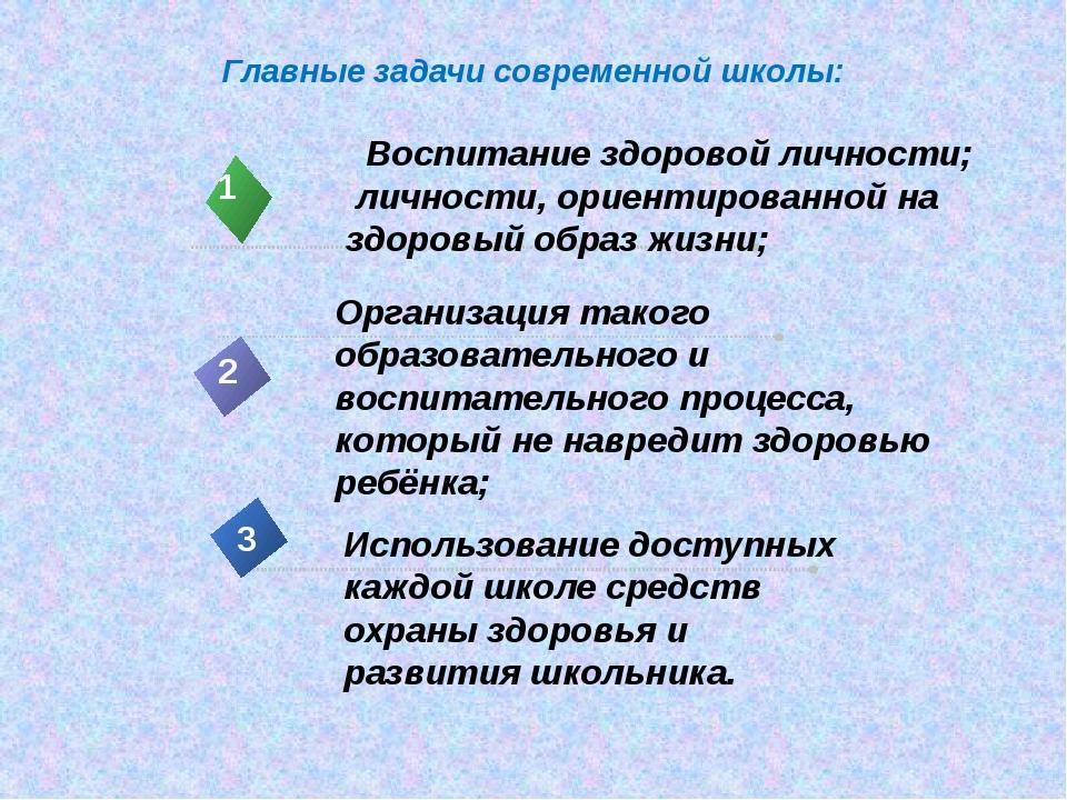 Главные задачи современной школы: Воспитание здоровой личности; личности, ори...