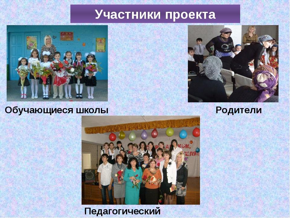Участники проекта Родители Обучающиеся школы Педагогический коллектив