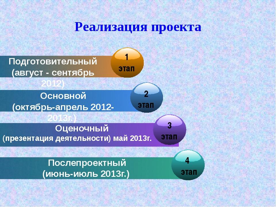 Реализация проекта Подготовительный (август - сентябрь 2012) Основной (октябр...