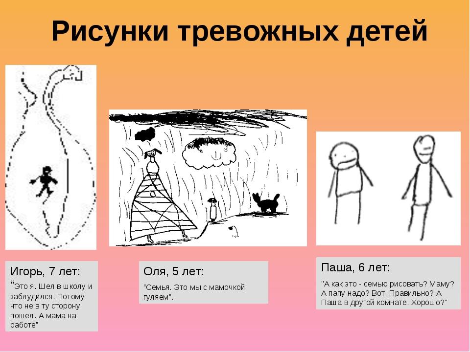 """Рисунки тревожных детей Игорь, 7 лет: """"Это я. Шел в школу и заблудился. Потом..."""