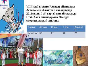 VII қысқы Азия(Азиада) ойындары Астана мен Алматы қалаларында 2011жылы қ