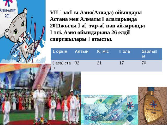 VII қысқы Азия(Азиада) ойындары Астана мен Алматы қалаларында 2011жылы қ...