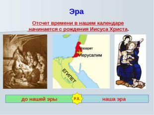 Эра Отсчет времени в нашем календаре начинается с рождения Иисуса Христа. до