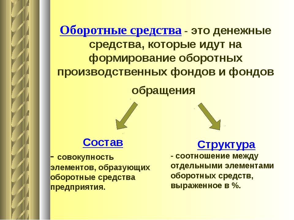 Презентация на тему Оборотные средства предприятия  слайда 3 Оборотные средства это денежные средства которые идут на формирование обор