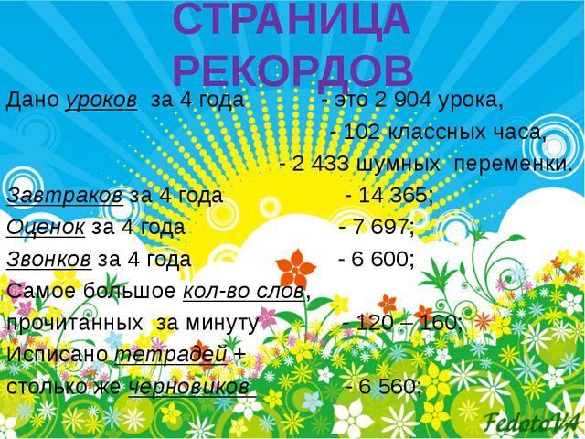 СТРАНИЦА РЕКОРДОВ Дано уроков за 4 года - это 2 904 урока, - 102 классных час...