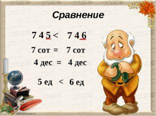 Сравнение 7 4 5 7 4 6 < 7 сот 7 сот = 4 дес 4 дес = 5 ед 6 ед <