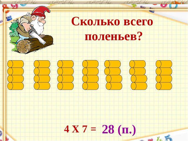Сколько всего поленьев? 28 (п.) 4 Х 7 =