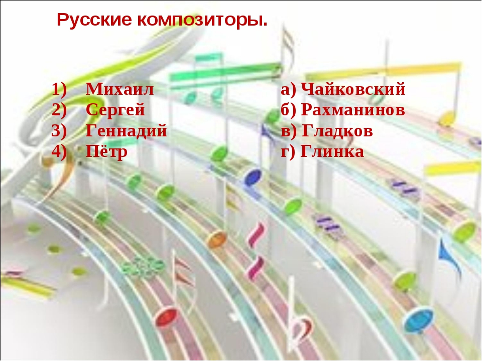 Русские композиторы. 1) Михаил 2) Сергей 3) Геннадий 4) Пётра) Ч...