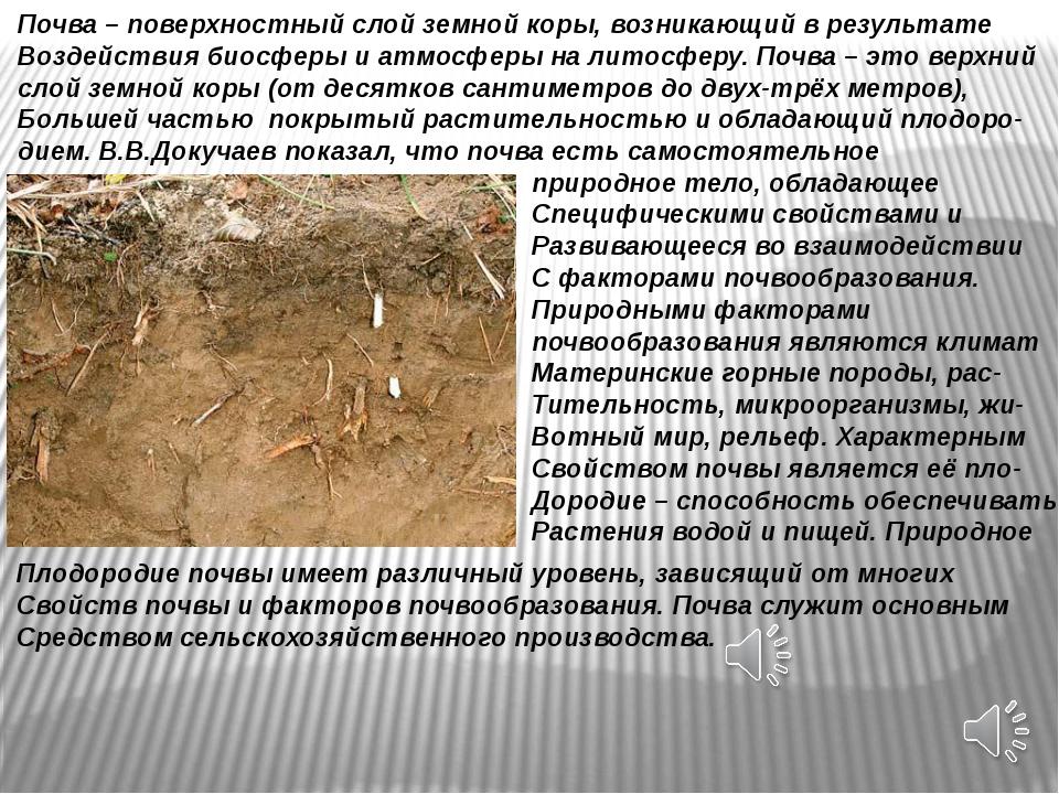 Почва – поверхностный слой земной коры, возникающий в результате Воздействия...