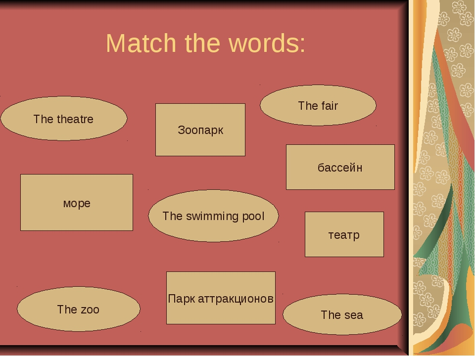 Match the words: The swimming pool The theatre The sea The fair The zoo море...