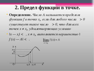 2. Предел функции в точке. Определение. ЧислоА называется пределом функцииf