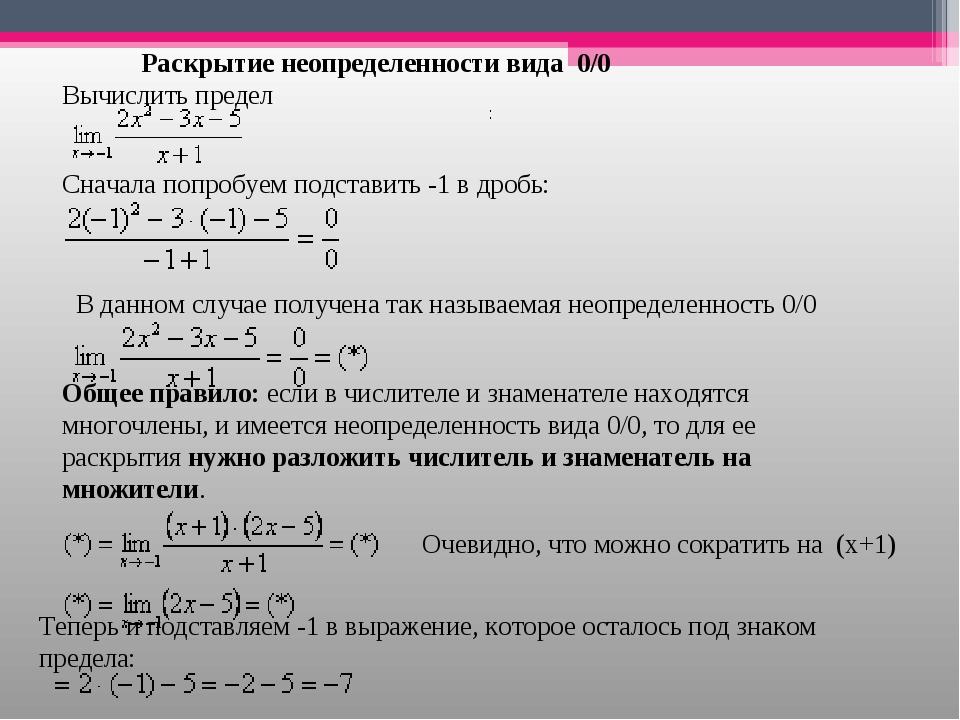 Раскрытие неопределенности вида 0/0 Вычислить предел Сначала попробуем подс...