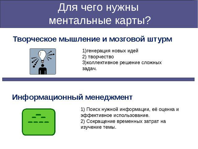 Для чего нужны ментальные карты? Творческое мышление и мозговой штурм 1)генер...