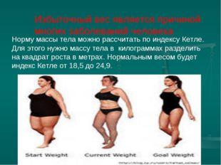 Избыточный вес является причиной многих заболеваний человека Норму массы тел
