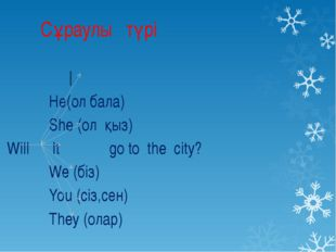 Сұраулы түрі I Hе(ол бала) She (ол қыз) Will It go to the city? We (біз) You