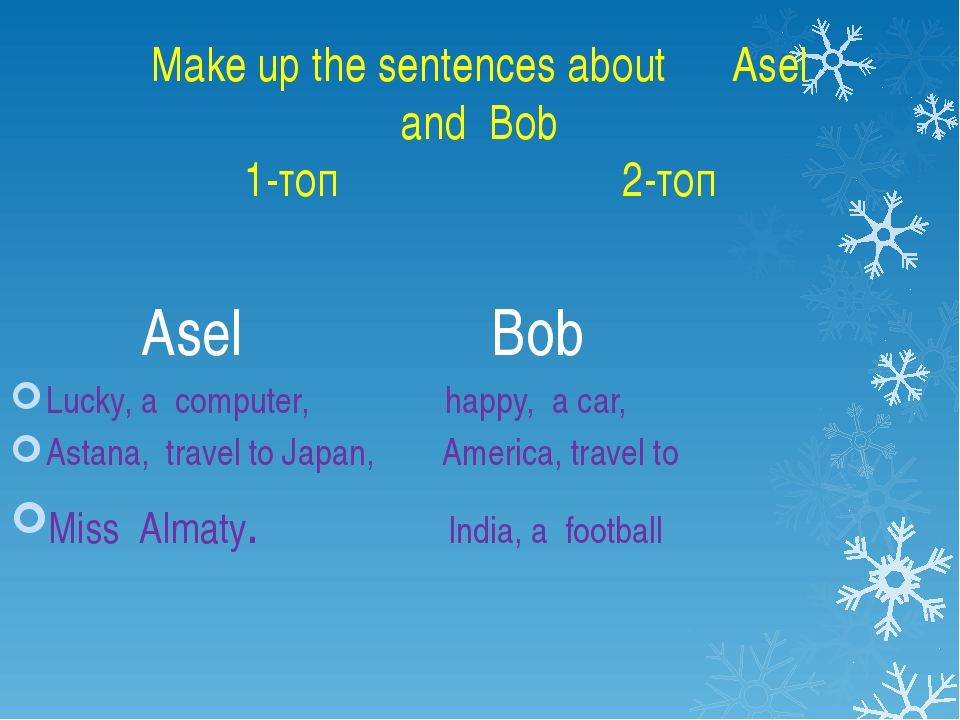 Make up the sentences about Asel and Bob 1-топ 2-топ Asel Bob Lucky, a comput...