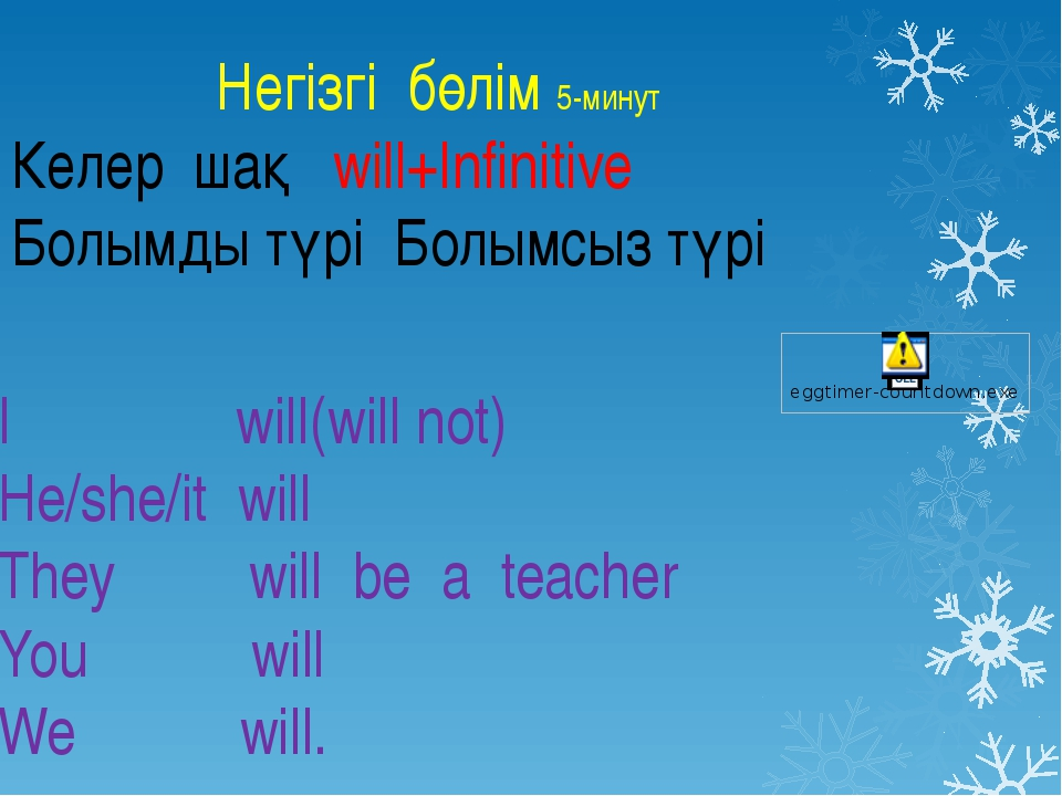 I will(will not) He/she/it will They will be a teacher You will We will. Негі...