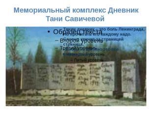 Мемориальный комплекс Дневник Тани Савичевой Танин дневник – это боль Ленингр