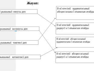 α бұрышыныңсинусы деп α бұрышының косинусы деп α бұрышының тангенсі деп α бұ